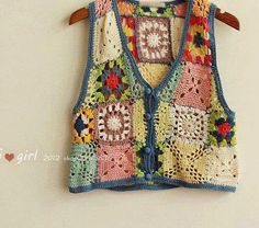 *crochemania*: reciclagem de linhas, colete crochet, patchwork de..., Crochet granny square vest