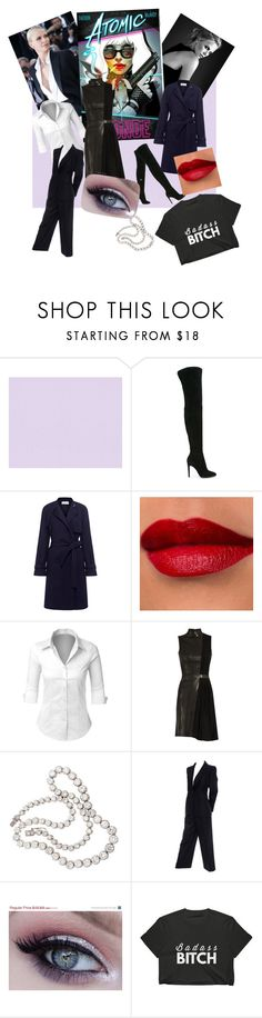 """""""In the Badass Style of Charlize Theron"""" by lindsaywassel ❤ liked on Polyvore featuring Gianvito Rossi, A.L.C., LE3NO, Thierry Mugler and Yves Saint Laurent"""