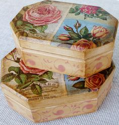 boxes decoupaged with napkin