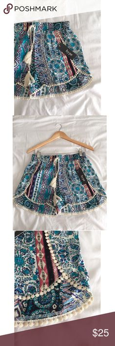 High-waisted tribal boho festival hipster shorts Brand new with tag! Fun high waisted comfy shorts! By Hype. Bohemian dolphin hem style. Trendy tribal print. Elasticized waist. Super cute, comfy and easy to dress up or down!  Size Medium  NWT  I can lower the price by 10% so you can get reduced shipping SEE THE FIRST POSTS AT THE TOP OF MY CLOSET valid through 5/15/17 Shorts