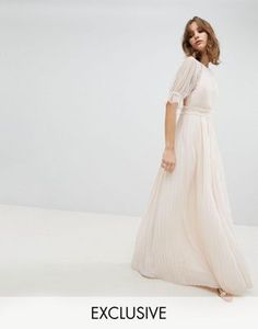 TFNC WEDDING Pleated Maxi Dress With Spot Mesh Frill Detail