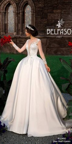 Ball Gown Long Sleeve Wedding Dress Lace Back Bridal Dress Satin Bernarda 2 #weddings #weddingdresses #bridaldresses #weddingideas ❤️ http://www.deerpearlflowers.com/long-sleeves-wedding-dresses-from-belfaso/
