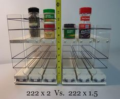 Organize cabinet spices or other small kitchen items in this slim multi-level organizer rack from Vertical Spice. This clear-view rack has 3 slide out drawers. Cabinet Spice Rack, Kitchen Spice Racks, Spice Storage, Kitchen Storage, Locker Storage, Kitchen Organization, Spice Rack Vertical, Spice Rack Narrow, Pull Down Spice Rack