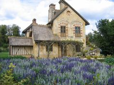 Back of the Moulin, the watermill cottage built for Marie Antoinette, Petit Trianon, Versailles