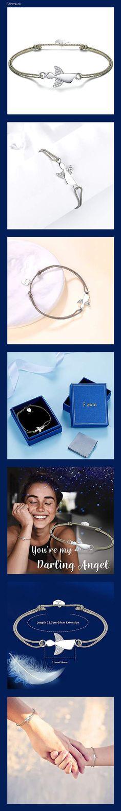 F.ZENI Damen Armband Schutzengel 925 Sterling Silber Armbänder Glücksbringer für Frauen und Mädchen 24cm Einstellbare Handarbeit Geflochtenes - 14hb