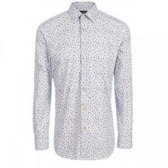 Paul Smith Men's Tailored-Fit Sky Blue '3-Colour Floral' Print Shirt