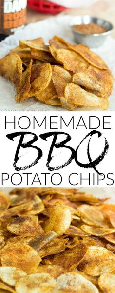 Homemade BBQ Potato Chips are a super simple, super tasty snack, side dish or addition to any outdoor get together! One of the best snack foods. Potato Chips Homemade, Fried Potato Chips, Oven Potato Chips, Sweet Potato Chips, Easy Snacks, Yummy Snacks, Snack Recipes, Vegan Snacks, Veggie Recipes