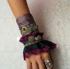 design lass: Handmade Victorian Cuff Textile Jewelry, Fabric Jewelry, Fabric Bracelets, Cuff Bracelets, Handmade Accessories, Fashion Accessories, Wedding Gloves, Lace Gloves, Crochet Bracelet