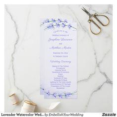 Shop Lavender Watercolor Wedding Ceremony Programs created by EmbellishYourWedding. St Matthews Church, Unique Wedding Programs, Saint Matthew, Wedding Ceremony Programs, Wedding Matches, Lavender Flowers, Watercolor Wedding, Flower Designs, Paper Texture