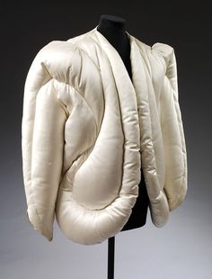 Evening jacket of quilted white satin, designed by Charles James, Paris, Museum Number Charles James, 1930s Fashion, Vintage Fashion, Cape Coat, Vintage Coat, Padded Jacket, Quilted Jacket, Fashion History, Fashion Details