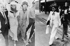 Ícone dos anos 1970, Bianca Jagger continua inesquecível. Lembram do vestido de casamento? Um tailleur longo Yves Saint Laurent branco, usado com chapéu de abas largas