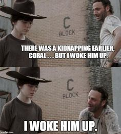 Out standing in his field ! - Coral - Humor Me - The Walking Dead Carl Memes Walking Dad Jokes, Memes The Walking Dead, Carl Walking Dead, Walking Dead Coral, Walking Dead Clothes, The Walking Dad, Twd Memes, Mega Sena, Reality Shows