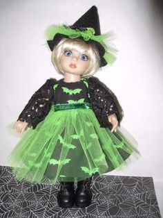 "Gone Batty Witch Dress & Hat for 10"" Tonner Ann Estelle Patsy Half Pint Doll 