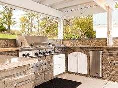 Stacked stone for under countertops in outdoor kitchen