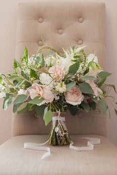 Large Bouquet Bride Bridal Flowers Roses Foliage Pink Rustic Tipi Woodland Wedding http://kerryannduffy.com/