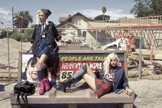 Punk Rock Rebels. Furst of a Kind plaid skirts, Millau tie top, vintage tee, Car Mar denim jacket