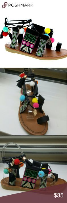 Black Tassel, PU, Embroidered Sandals New Arrivals !  Prepare for summer ⛱  FIT TRUE SIZE Shoes Sandals