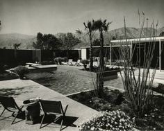 Pool area, Sloane Display House, La Quinta CA, William F. Cody architect 1962