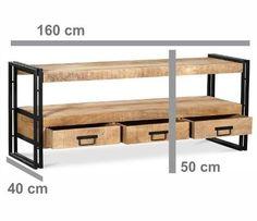 Mueble Bajo En Hierro Y Madera De 1,60m 6 Cuotas Sin Interes - $ 7.499,00 en Mercado Libre