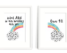 Looking for the perfect nursery gift? 'Indeed Allah is ever watching over you' Quran A simple, beautiful reminder for little ones! Help them start learning about Allah! See other designs in the MeMuslimaDesigns Etsy store. Islamic Art, Islamic Quotes, Baby Nursery Diy, Nursery Ideas, Islam Marriage, Hadith Quotes, Islam For Kids, Printable Paper, Nursery Prints