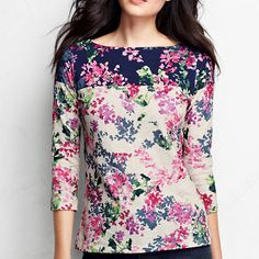 Women's 3/4-sleeve Slub Jersey Boatneck Floral Art Tee from Lands' End