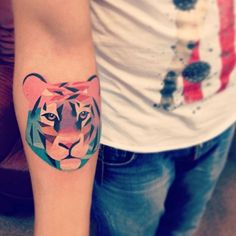 Watercolor tiger tattoo on arm - 55 Awesome Tiger Tattoo Designs  <3 <3