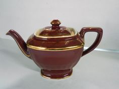 Beautiful Vintage Hall Pottery 6 Cup Teapot, #0113 Mauve w/ Gold Trim, U.S.A.  #Hall