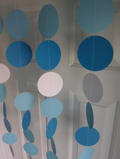 Paper Garland Blue and White Circles Dangling by SuzyIsAnArtist, $22.00