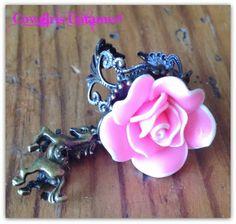 "COWGIRL GYPSY RING ""Flower Child"" Pink Flower & Crystal Boho Vintage Antique Bronze Adjustable Ring"