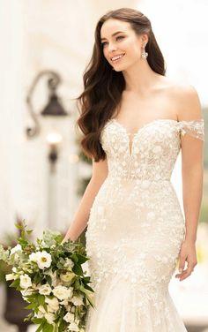 Sparkling Wedding Dress with Floral Details - Martina Liana Western Wedding Dresses, Elegant Wedding Gowns, Glamorous Wedding, White Wedding Dresses, Wedding Dress Styles, Chic Wedding, Bridal Dresses, Lace Wedding, Formal Wedding