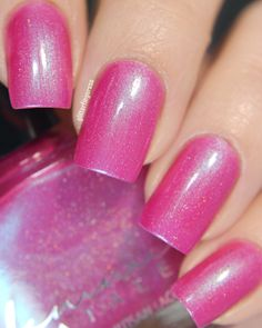 Femme Fatale - Kissing Reflections | Neon Demon | April 1, 2017 | Kissing Reflections is a bright fuchsia-pink crelly with turquoise overlay and scattered holographic particles. We recommend thin, even coats; and this should be opaque for you in 3 coats depending on your application technique. This colour contains fluorescent pink pigment which may fade slightly over time to a more coral tone. Our testing for 6+ months with this pigment has shown no perceptible difference, but we do know…