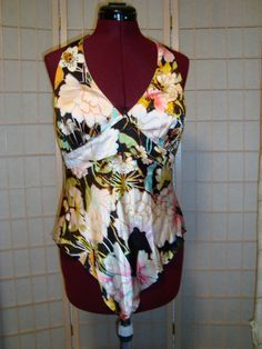 New WT Caché Sz 12 Misses 100% Silk Multi Color Floral Halter Top Padded Cups #Cach #Halter