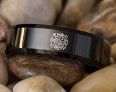 Tungsten Wedding Ring 7mm Black Beveled by FANaticCreations, $49.00