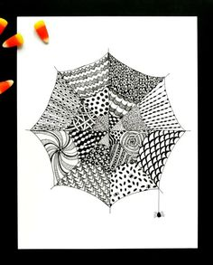 An easy Zentangle for kids & adults that also works as a striking Halloween art project. These spiderweb Zentangles can be adapted for a wide range of ages. Halloween Art Projects, Fall Art Projects, Halloween Kids, Projects For Kids, Kids Crafts, Craft Projects, Doodle Patterns, Zentangle Patterns, Zentangles