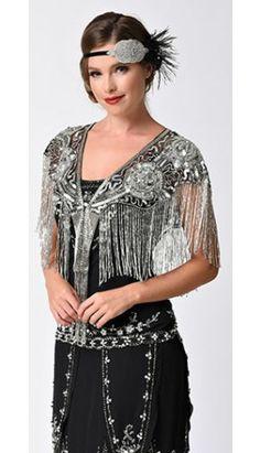 1920s Style Silver & Black Deco Rose Beaded Fringe Shawl