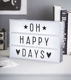 lightbox quotes - oh happy days Cinema Light Box Quotes, Cinema Box, Citations Lightbox, Lightbox Quotes, Message Light Box, Lead Boxes, A Little Lovely Company, Led Light Box, Diy Light
