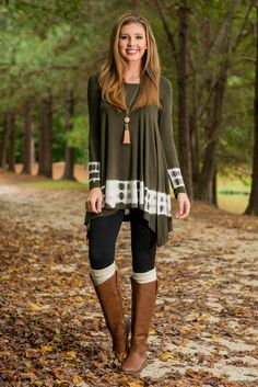 Ripple and Wave Tunic, Olive - The Mint Julep Boutique