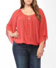 Buttoned Bell Sleeve Top   FOREVER21 PLUS - 2000048240