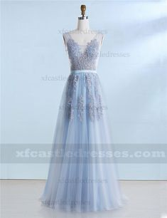 A Line Lace Long Prom Dresses V Neck MXN1309 Prom Dresses Blue, Formal Dresses, Lace Back, Tulle, V Neck, Color, Fashion, Dresses For Formal, Moda