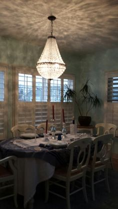Pottery barn mia chandelier. So pretty in my dining room