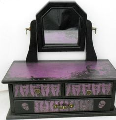 Gothic Jewelry Box with Purple and Black Skull Theme - By Nacreous Alchemy