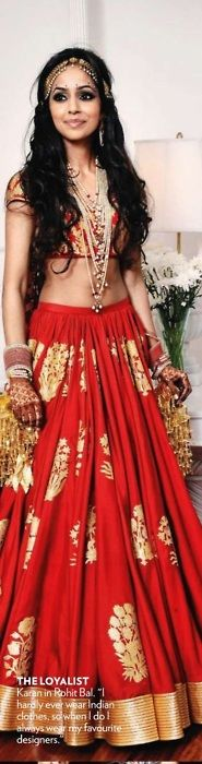 A striking all-red lehanga, by Rohit Bal #indianbridal