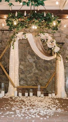 Southern Home Decor Hexagon wedding arch with neutral flower geometric wedding ideas.Southern Home Decor Hexagon wedding arch with neutral flower geometric wedding ideas Indoor Wedding Ceremonies, Wedding Altars, Wedding Ceremony Decorations, Decor Wedding, Wedding Scene, Wedding Church, Table Wedding, Party Wedding, Wedding Reception Backdrop