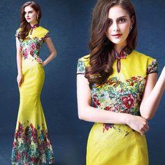 Elegant Yellow Lace Floral Cheongsam Top Mermaid Evening Gown - iDreamMart.com