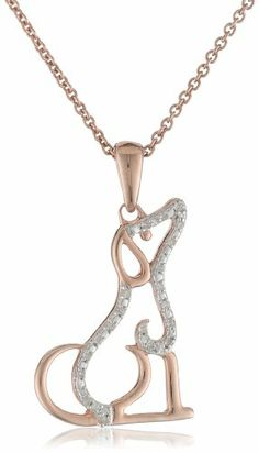 """14k Rose Gold Plated Sterling Silver Diamond Dog Pendant Necklace (1/20 cttw, I-J Color, I2-I3 Clarity), 18"""" Amazon Curated Collection,http://www.amazon.com/dp/B00C4RXLSK/ref=cm_sw_r_pi_dp_LjECtb1DZ0ZNB0HR"""