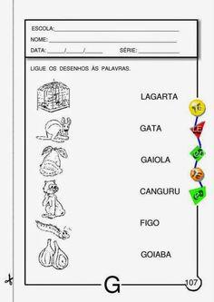 Atividades letra g para Educação Infantil