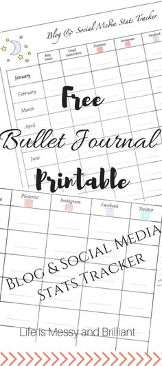 FREE Bullet Journal Printable Blog and Social Media Stats Tracker