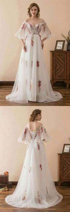 Fairy Tale Off The Shoulder Puffy Prom Dress With Color Embroidery – Märchen aus der Schulter Puffy Prom Kleid mit Farbstickerei – Puffy Prom Dresses, A Line Prom Dresses, Homecoming Dresses, Evening Dresses, Wedding Dresses, Dresses Dresses, Dress Prom, Wedding Shoes, Homecoming Ideas