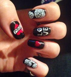 Rock n Roll Valentine Nails, tattoo nails, hand painted nail art, love nails black valentine nails