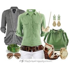 Spring Outfit-  white pants instead, love the brown belt